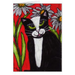 Tuxedo Cat in the Daisies Notecard Greeting Card