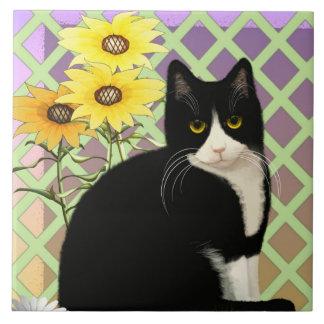 Tuxedo Cat in the Garden Ceramic Tile