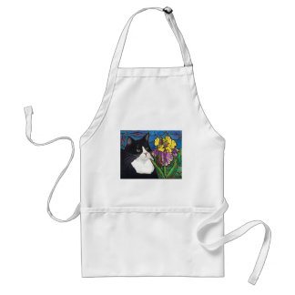 Tuxedo Cat Iris Flower Butterfly Stained Glass Adult Apron