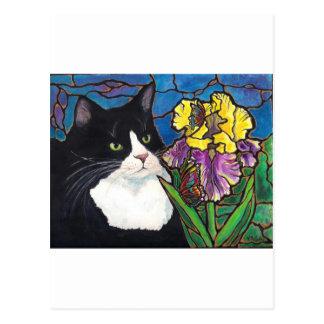 Tuxedo Cat Iris Flower Butterfly Stained Glass Postcard