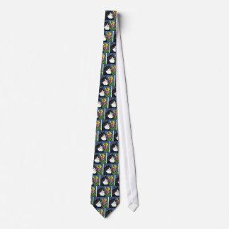 Tuxedo Cat Iris Flower Butterfly Stained Glass Tie