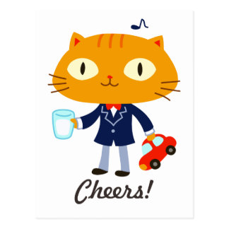 Tuxedo Cat Kid Postcard