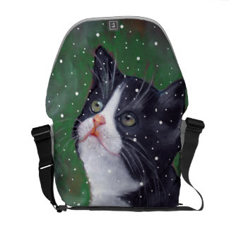 Tuxedo Cat Looking Up At Snow, Pastel Art Courier Bag