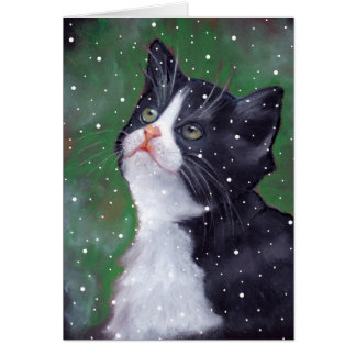 Tuxedo Cat Looking Up At Snowflakes, Art Card