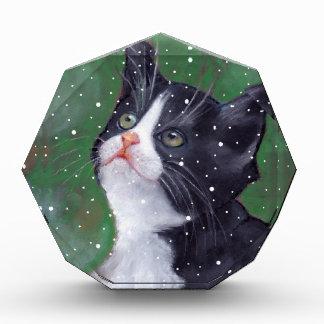 Tuxedo Cat Looking Up At Snowflakes, Painting Award