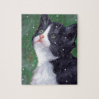 Tuxedo Cat Looking Up At Snowflakes, Painting Jigsaw Puzzle