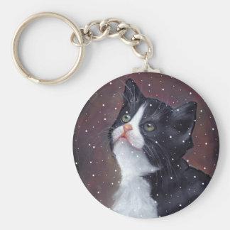 Tuxedo Cat Looking Up At Snowflakes, Painting Keychain