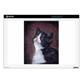 Tuxedo Cat Looking Up At Snowflakes, Painting Laptop Skin