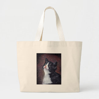Tuxedo Cat Looking Up At Snowflakes, Painting Large Tote Bag