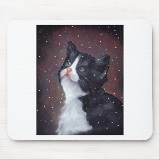 Tuxedo Cat Looking Up At Snowflakes, Painting Mouse Pad