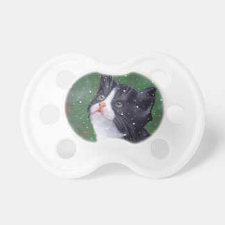 Tuxedo Cat Looking Up At Snowflakes, Painting Pacifier