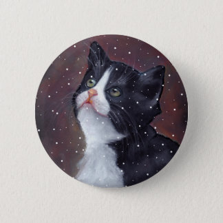 Tuxedo Cat Looking Up At Snowflakes, Painting Pinback Button