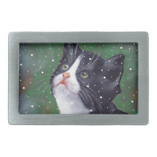 Tuxedo Cat Looking Up At Snowflakes, Painting Rectangular Belt Buckle