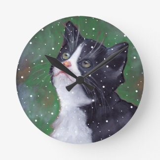 Tuxedo Cat Looking Up At Snowflakes, Painting Round Clock