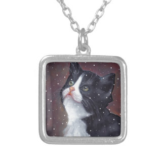 Tuxedo Cat Looking Up At Snowflakes, Painting Silver Plated Necklace