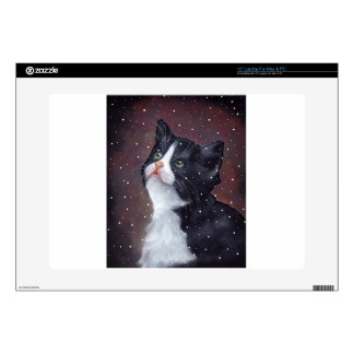 """Tuxedo Cat Looking Up At Snowflakes, Painting Skins For 15"""" Laptops"""