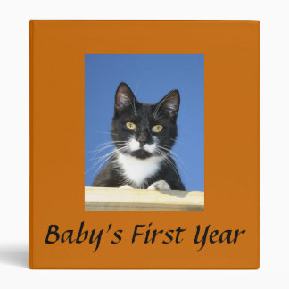 Tuxedo Cat Looseleaf Binder Customize Title
