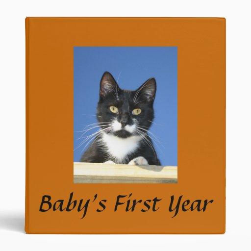Tuxedo Cat Looseleaf Binder Customize Title