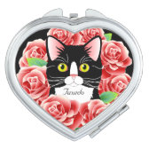 Tuxedo Cat Love cute roses customizable mirror Compact Mirror