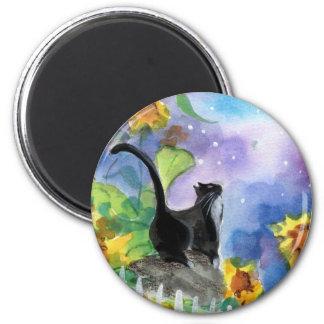 Tuxedo Cat Moon in Sunflowers Magnet