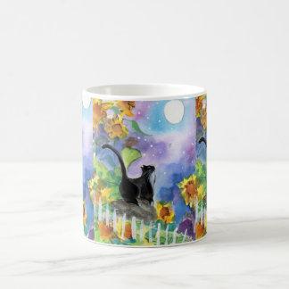 Tuxedo Cat Moon in Sunflowers Classic White Coffee Mug