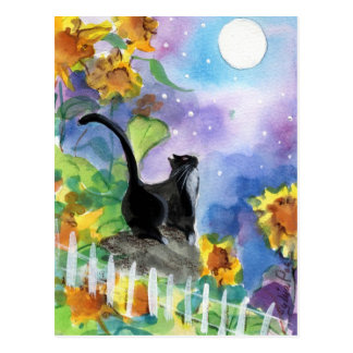 Tuxedo Cat Moon in Sunflowers Post Card