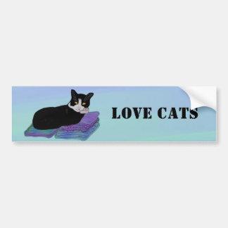 Tuxedo Cat Nap Bumper Sticker Car Bumper Sticker