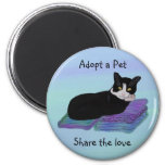 Tuxedo Cat Nap Pet Adoption Magnets