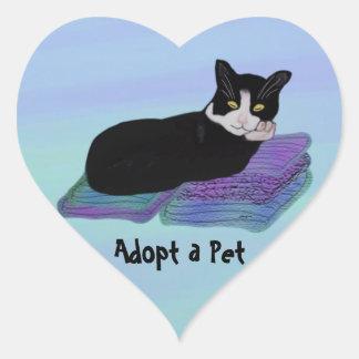 Tuxedo Cat Nap Pet Adoption Stickers