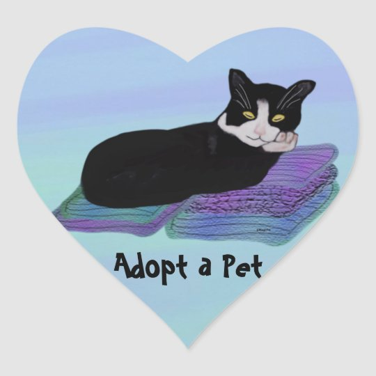 Tuxedo Cat Nap Pet Adoption Stickers   Zazzle.com