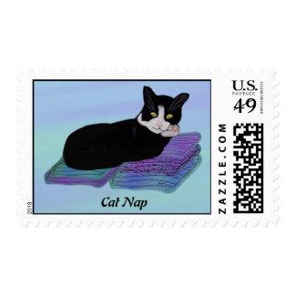 Tuxedo Cat Nap Postage Stamps