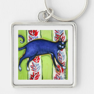 Tuxedo Cat on a Cushion Silver-Colored Square Keychain