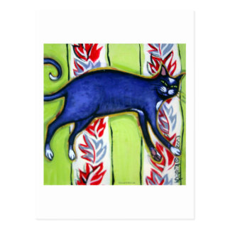 Tuxedo Cat on a Cushion Postcard