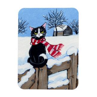 Tuxedo Cat on a Snowy Fence Art Premium Magnet