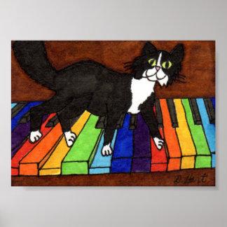 Tuxedo Cat on Rainbow Piano Mini Folk Art Poster