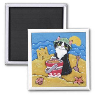 Tuxedo Cat on the Beach Art Magnet