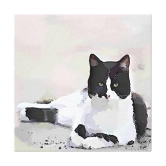 Tuxedo Cat Painting Canvas Print