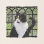 """Tuxedo Cat Painting - Cute Original Cat Art Scarf<br><div class=""""desc"""">Tuxedo Cat portrait,  original painting.   We specialize in cute and funny original art. Buy this for yourself or as a great gift for your Tuxedo Cat loving friends. Be creative - click on CUSTOMIZE to add/remove/change text,  resize the picture,  change colors or anything else the customization tool will allow!</div>"""