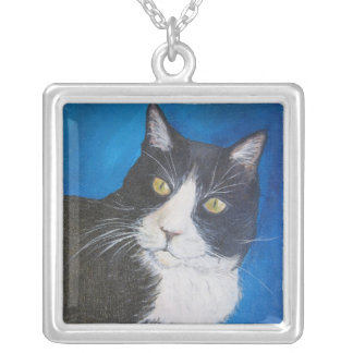 Tuxedo Cat Painting Silver Necklace