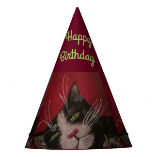 tuxedo cat party hat
