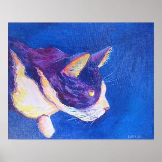 Tuxedo Cat Pet Portrait Painting Poster