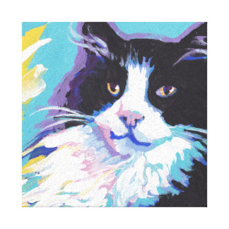 tuxedo cat  Pop Art on Stretched Canvas