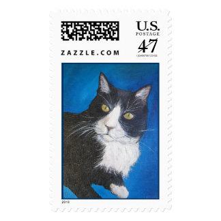 Tuxedo Cat Postage Stamp
