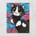 Tuxedo Cat Resting on Scarves Art Postcard