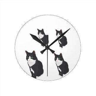 Tuxedo Cat Round Clock