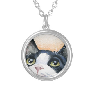 Tuxedo Cat Silver Plated Necklace