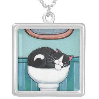 Tuxedo Cat Sleeping in Sink | Cat Art Pend Necklace