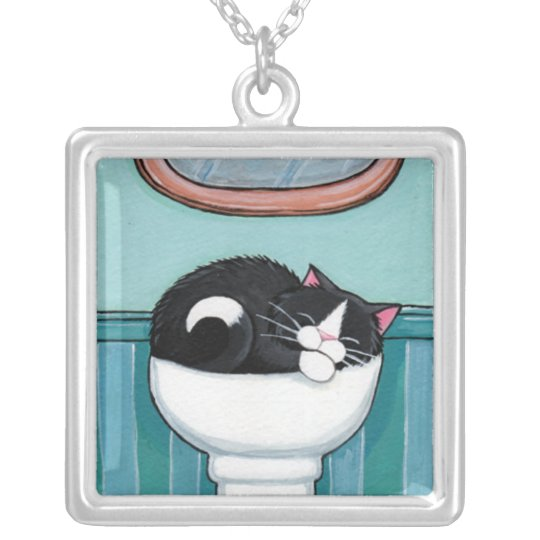 Tuxedo Cat Sleeping in Sink | Cat Art Pend Silver Plated Necklace