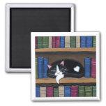 Tuxedo Cat Sleeping on Bookshelf Cat Art Magnet