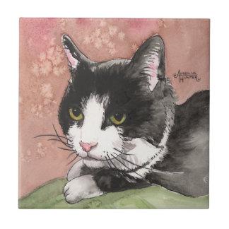 Tuxedo Cat Small Square Tile